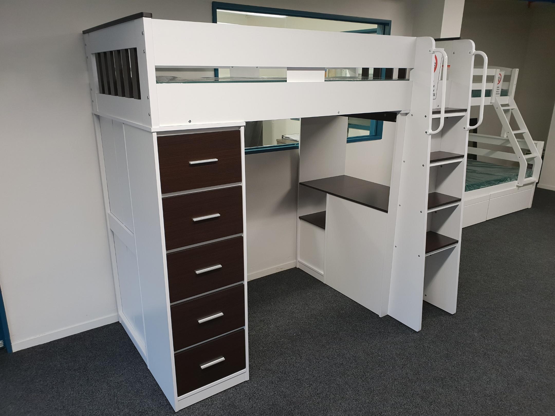 Picture of: Dallas Single Loft Bunk With Desk Storage
